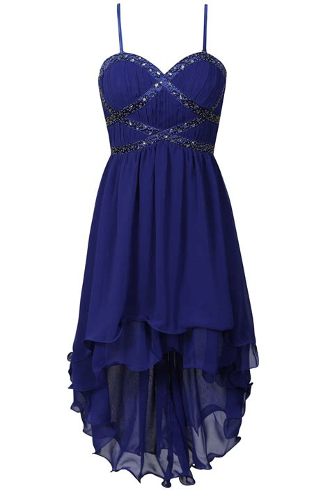 Dipped Hem Dresses cobalt embellished bustier dipped hem dress