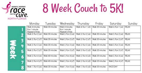 couch to 5k training calendar couch to 5k 8 week get fit pinterest lost weight and