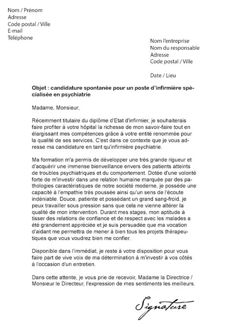 Exemple Lettre De Motivation Candidature Spontanée Infirmier Lettre De Motivation Stage Infirmier Psychiatrie