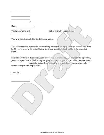 employee termination letter termination letter for employee template with sle