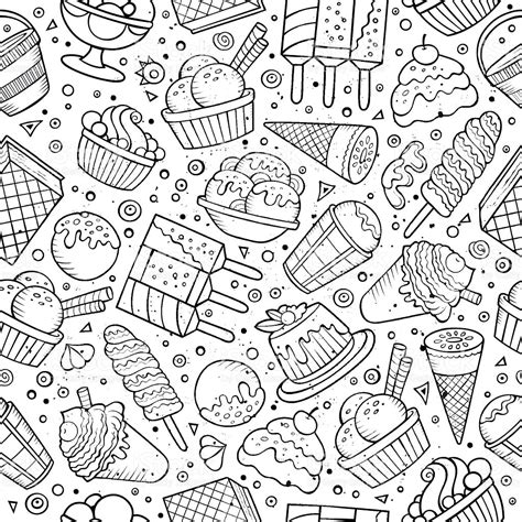 doodle ice cream pattern ice cream doodles seamless pattern stock vector art