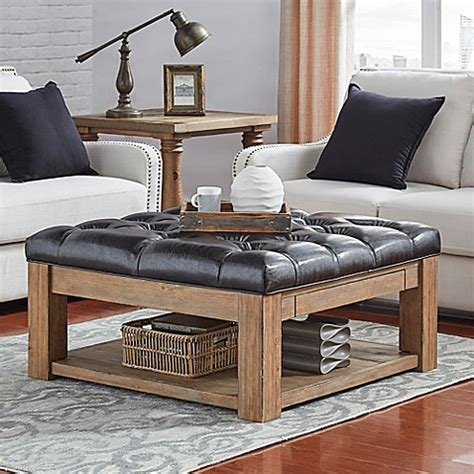 buttoned ottoman coffee table verona home allie button tufted cocktail table ottoman