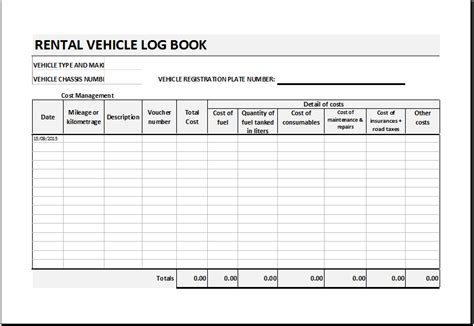 template of vehicle log book rental vehicle log book template for excel excel templates
