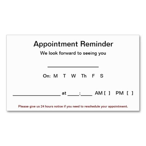appointment reminder card template appointment reminder cards 100 pack white business card