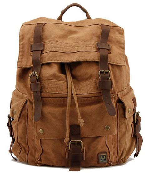vintage korean style canvas leather backpack