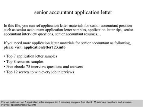 Application Letter For Senior Senior Accountant Application Letter