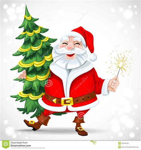 pictures of crismas tree and centaclaus santa claus holding tree royalty free stock photo image 35450455