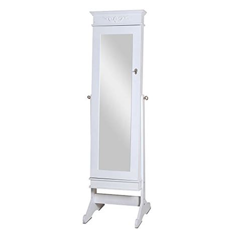large jewelry armoire with mirror large white frame tall floor standing swivel mirrored