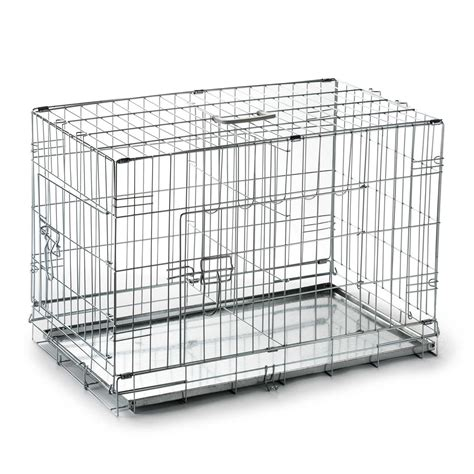 crate with divider 20 quot folding crate cage kennel with divider and metal pan silver ebay