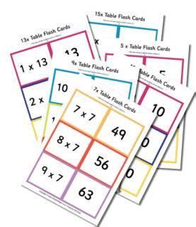 printable times tables flash cards large times tables flash cards