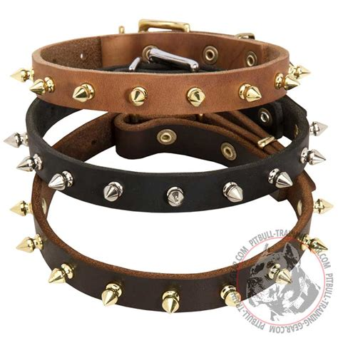 spiked collars for pitbulls buy spiked leather pitbull collar equipment