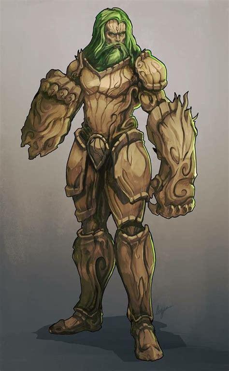 druid monk wood armor character art fantasy
