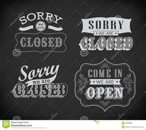 typography signs open and closed vintage retro signs stock photo image 35488880