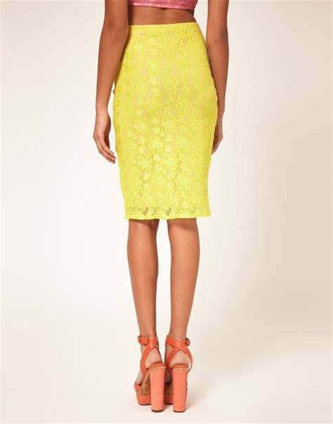 river island lace pencil skirt in yellow lyst