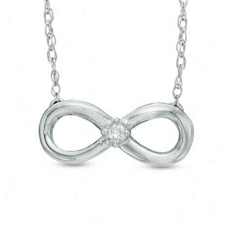 accent solitaire sideways infinity necklace in 10k