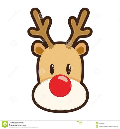 cartoon white red nosed reindeer stock image image 35469281