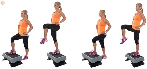 step up bench exercise alternating step up with knee lift