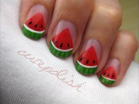 easy nail art cutepolish watermelon slice nail art youtube