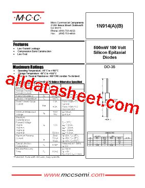 1n914 diode datasheet pdf 1n914 datasheet pdf micro commercial components
