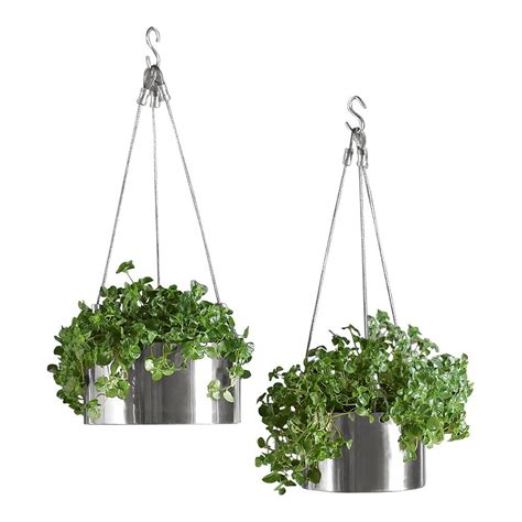 Bari Stainless Steel Hanging Planters   The Green Head