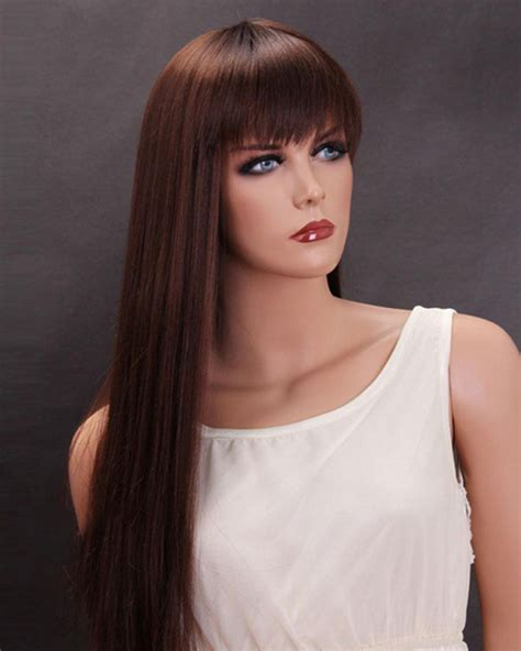 auburn wig with bangs dark auburn long straight wigs synthetic hair wig with bangs