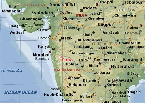 pune in map of india poona map and poona satellite image