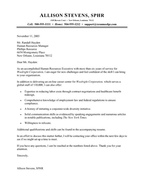 Cover Letter Addressed To Human Resources by Human Resources Cover Letter Jvwithmenow