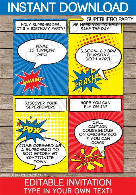 superhero party invitations superhero birthday party
