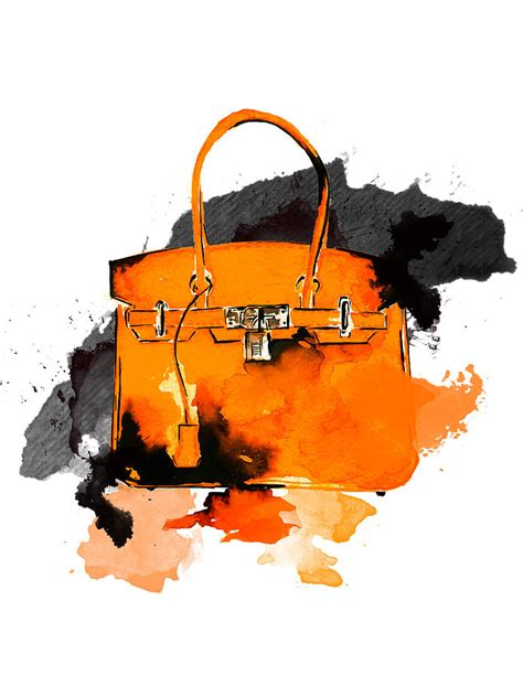 Bag Fashion Atr hermes bag watercolor fashion illustration painting by