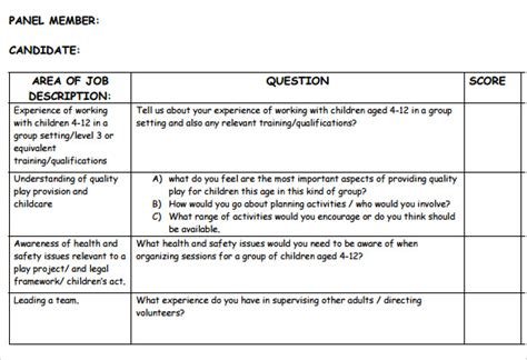 interview score sheet templates   samples examples formats