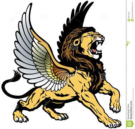 roaring winged lion stock vector image of mythological