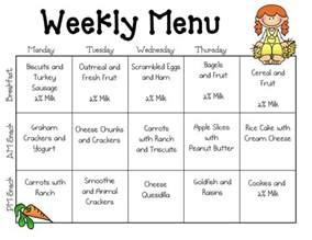 sle daycare menu templates preschool pinterest