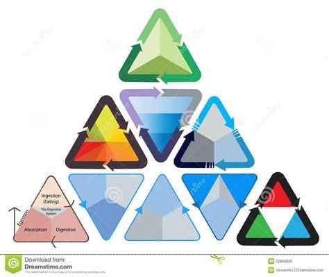 triangle flowchart triangular triangle flowchart diagram illustration stock