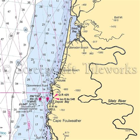 Kitchen Island Cutting Board by Oregon Depoe Bay Lincoln Beach Nautical Chart Decor