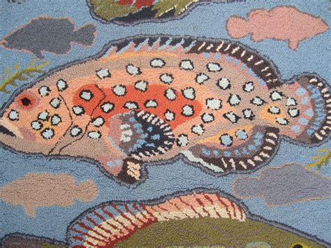 unusual rugs unusual hooked rug with fish motif at 1stdibs