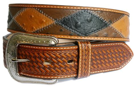 Patchwork Belt - 3d western mens belt leather patchwork ostrich print brown