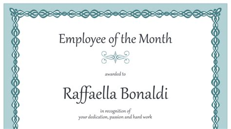 employee of the year certificate template free certificate for employee of the month blue chain design