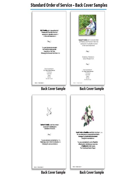 in memoriam donation cards template order of service brochure in memoriam cards free