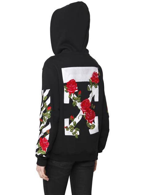 Sweater Hoodie Jaket Murah White Roses Zip W White Embroidery Zip Up Sweatshirts Buyma