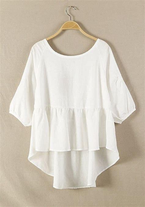 Dini Flowy white plain hem irregular cotton blend blouse