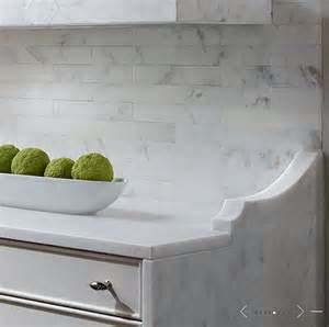 marble subway tiled backsplash transitional kitchen