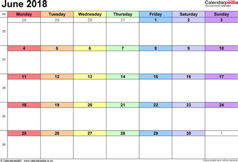 calendar june 2018 uk bank holidays excel pdf word templates