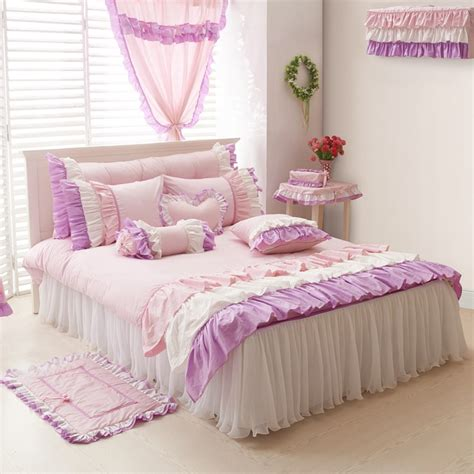 girls queen size bedding purple pink white girls ruffle full queen size duvet cover