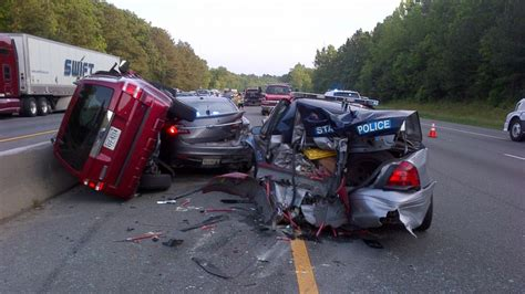 driver crashes  virginia state police cars    abc news