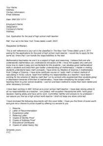 Cover Letter For Math by Cover Letter For High School Free Cover Letter
