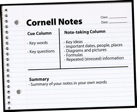 The Cornell Method Harvard Note Taking Template