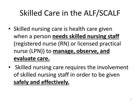 skilled nursing care ppt skilled care in assisted living facilities