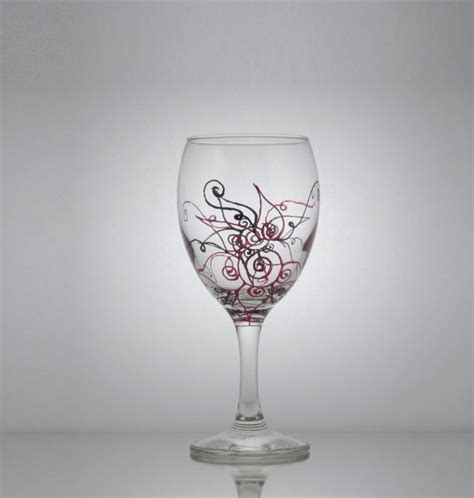 unique wine glasses single hand painted wine glass w engine red by