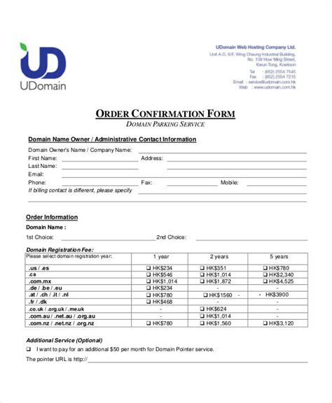 sle order confirmation form 6 exles in word pdf