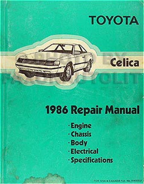 1986 Toyota Repair Manual 1986 Toyota Celica Repair Shop Manual Original